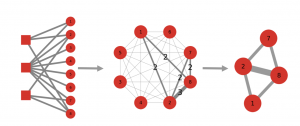 Projecting and backboning a bipartite network